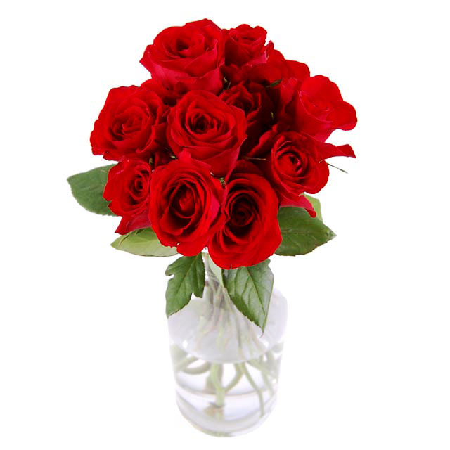 11 Red Roses - with vase - Valentine's Day