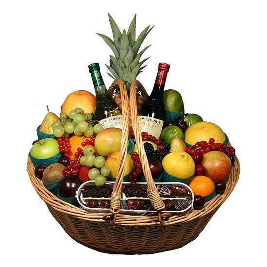Fruit Basket with Red & White Wine - Fruits Baskets