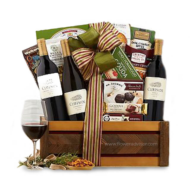 California Trio Wine Basket - Chinese New Years Hampers