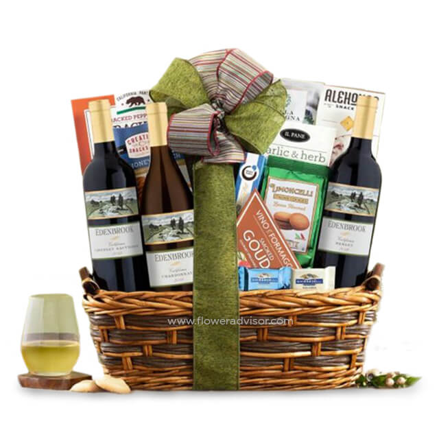 Edenbrook Vineyards Trio Wine Basket - Gourmet Hampers