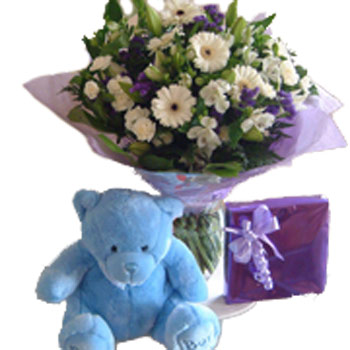 New Baby Bouquet, Teddy & Chocolates - Baby Gifts