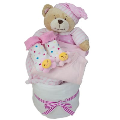 Bed Time Pink Nappy Cake - Baby Gifts