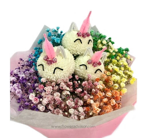 Rainbow Baby with Unicorn Blooms Bouquet - Womens Day