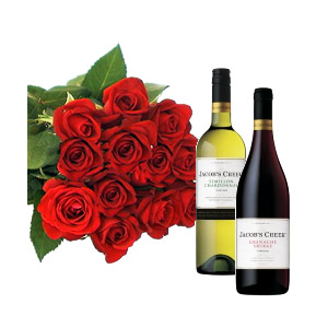 12 Kenyan Roses with Red & White wine