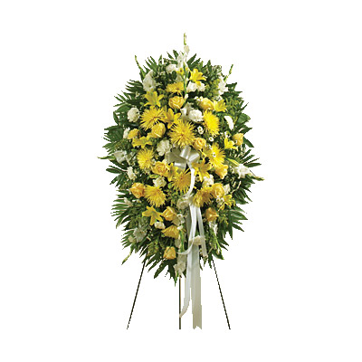 Yellow & White Sympathy Standing Spray - Sympathy